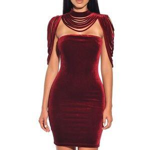 Dresses & Skirts - Sexy Velvet bodycon dress, velvet neckless